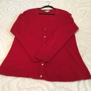 Christopher & Banks Red Button Front Cardigan